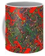 Red Five Wave Abstract Coffee Mug