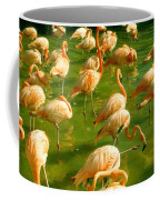 Red Florida Flamingos In Green Water Coffee Mug