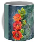 Red Flowering Prickly Pear Cactus Coffee Mug