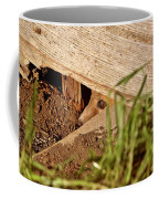 Red Fox Kit Peaking Out From Den Under Old Granary Coffee Mug
