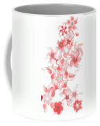 Red Fractal Floral Pattern Coffee Mug