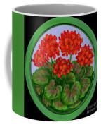 Red Geranium On Wood Coffee Mug