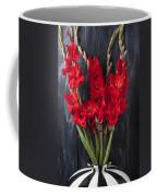 Red Gladiolus In Striped Vase Coffee Mug