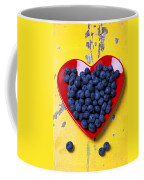 Red Heart Plate With Blueberries Coffee Mug