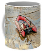 Red Inflatable Boat With Motor In Musselburgh Haven. Coffee Mug
