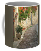 Red Ivy And Steps In Assisi Italy Coffee Mug