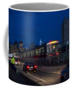 Red Line Train Rumbling Over The Longfellow Bridge In Boston Ma Coffee Mug