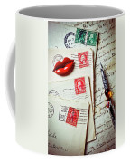 Red Lips Pin And Old Letters Coffee Mug