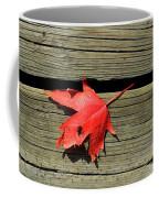 Red Maple Leaf On A Boardwalk  Coffee Mug