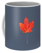 Red Maple Leaf On Black Shale Coffee Mug