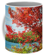 Red Maple On Lake Shore Coffee Mug