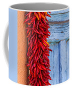 Red Peppers And Blue Door Coffee Mug