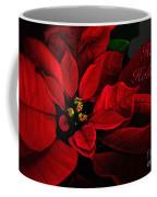 Red Poinsettia Happy Holidays Card Coffee Mug
