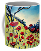 Red Poppies Under A Blue Sky Coffee Mug