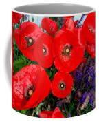 Red Poppy Cluster With Purple Lavender Coffee Mug
