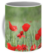 Red Poppy Flower And Green Wheat Nature Spring Scene Coffee Mug