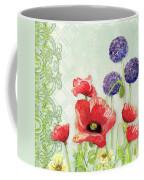 Red Poppy Purple Allium IIi - Retro Modern Patterns Coffee Mug