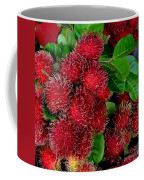 Red Rambutan And Green Leaves Coffee Mug