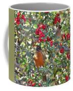 Red Robin And Cedar Waxwing 1 Coffee Mug