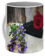 Red Rose And Sage With Vintage Books Coffee Mug