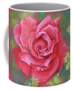 Red Rose With Yellow Lady's Mantle Coffee Mug