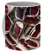 Red Roses Wrapped In Paper Displayed Coffee Mug