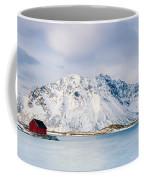 Red Shack On Fjord - Panorama Coffee Mug