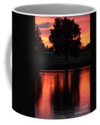 Red Sky Reflection With Tree Coffee Mug