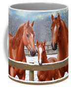 Red Sorrel Quarter Horses In Snow Coffee Mug by Crista Forest