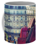 Red Truck In Paris Street Coffee Mug