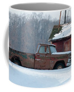 Red Truck In The Snow Coffee Mug