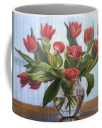 Red Tulips, Glass Vase Coffee Mug