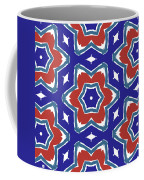 Red White And Blue Star Flowers 1- Pattern Art By Linda Woods Coffee Mug
