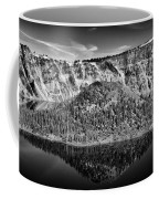 Reflection Of Wizard Island Crater Lake B W Coffee Mug