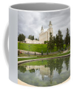 Reflections Of The Manti Temple At Pioneer Heritage Gardens Coffee Mug by Denise Bird