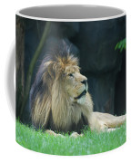 Relaxing Lion With A Thick Black Fur Mane Coffee Mug