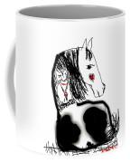 Resting Horse And Cat Coffee Mug