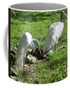 Resting Wood Stork And White Egret Coffee Mug