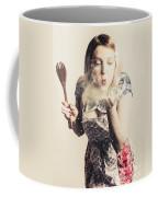Retro Cooking Woman Giving Recipe Kiss Coffee Mug