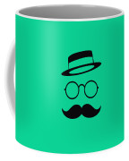 Retro Minimal Vintage Face With Moustache And Glasses Coffee Mug