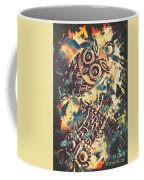 Retro Pop Art Owls Under Floating Feathers Coffee Mug