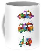 Retro Wheels Watercolor Coffee Mug