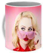 Retro Woman Model Wearing Summer Sun Glasses Coffee Mug