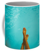 Retro Young Girl Relaxing Her Feet At Swimming Pool Coffee Mug