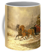Returning Home In Winter Coffee Mug by Charles Ferdinand De La Roche