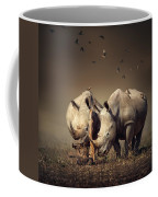 Rhino's With Birds Coffee Mug
