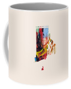 Rhode Island Map Art - Painted Map Of Rhode Island Coffee Mug