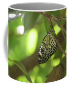 Rice Paper Butterfly Clinging To A Tree Branch Coffee Mug