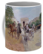 Riders And Carriages On The Avenue Du Bois Coffee Mug by Georges Stein