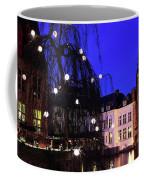River Dijver, Rozenhoedkaai Area At Night, Bruges City Coffee Mug